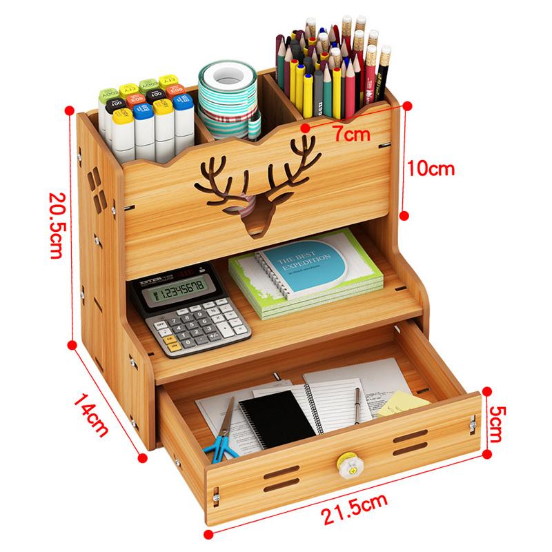 Kệ bút để bàn, kệ hồ sơ dụng cụ văn phòng, kệ điện thoại máy tính, kệ để bàn làm việc đa năng bằng gỗ - Tặng kèm 1 móc khóa khung hình thời trang