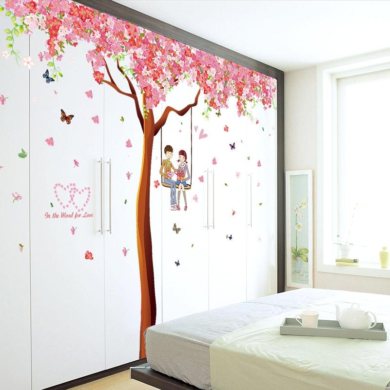 Decal dán tường Cây hồng tình yêu trang trí phòng khách,phòng ngủ đẹp