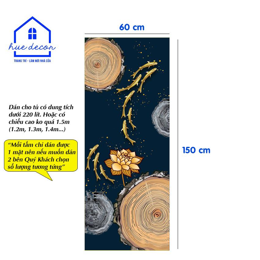 Decal dán tủ lạnh mẫu hoa sen - Chất liệu chống nước, phù hợp với mọi loại tủ