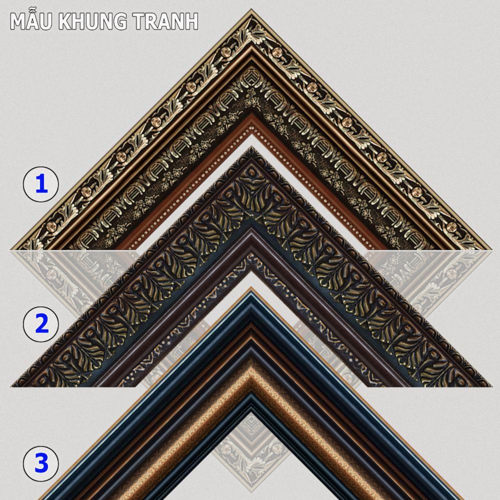 Tranh treo tường phòng khách, phòng ngủ SƠN THỦY HỮU TÌNH khung gỗ composit chất liệu pvc gương / lụa kim sa. MS:2045L9