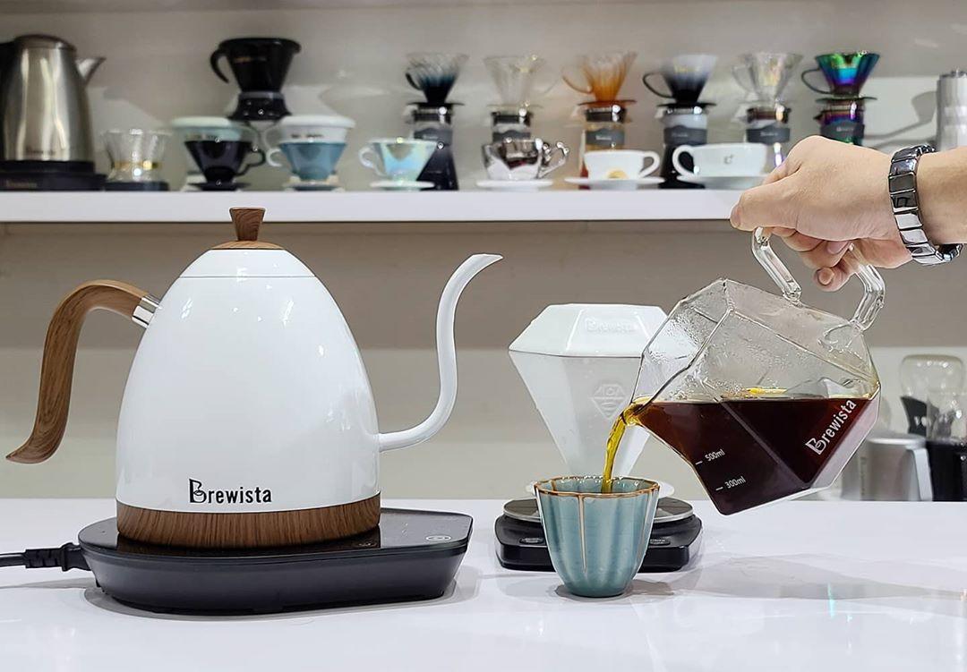 Bộ pha chế cafe (bao gồm phễu lọc và bình chứa) GEM Porcelain Dripper & Glass Server  by Stefanos Domatiotis - Chính hãng Brewista