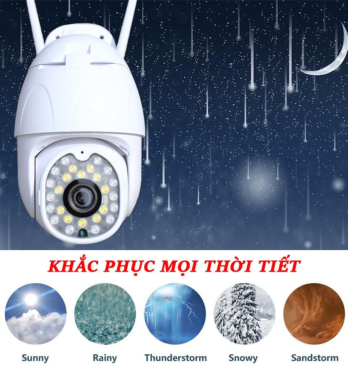 Camera Wifi ngoài trời Yoosee PTZ  2 Râu Full HD 1080P đàm thoại 2 chiều - Ban đêm có màu - Hàng Nhập Khẩu