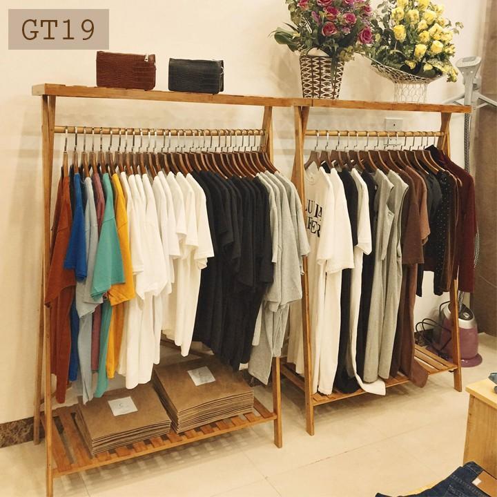 Giá treo quần áo bằng gỗ đa năng treo quần áo mặc dở và để giày dép đồ trang trí GT19