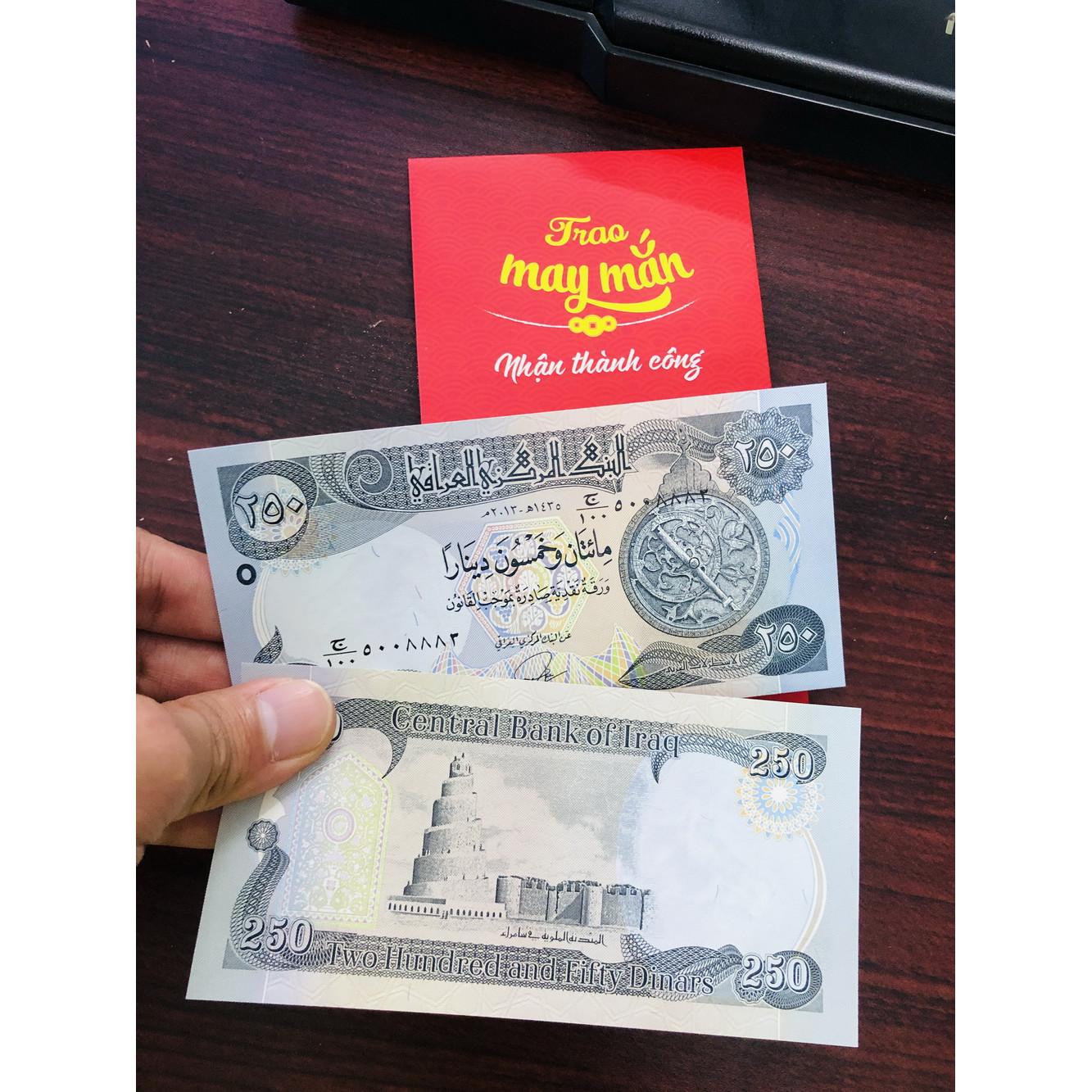 Tờ tiền Iraq 250 Dinar mệnh giá hiếm gặp, sưu tập tiền xưa độc đáo