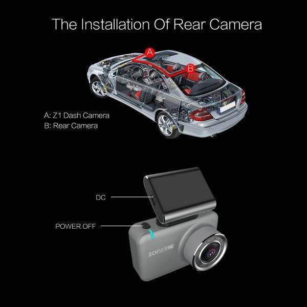 Camera Hành Trình Trước Sau Anytek Z1 Full HD Màn Cảm Ứng Tích Hợp Wifi Xem Trên Điện Thoại - Hàng Nhập Khẩu