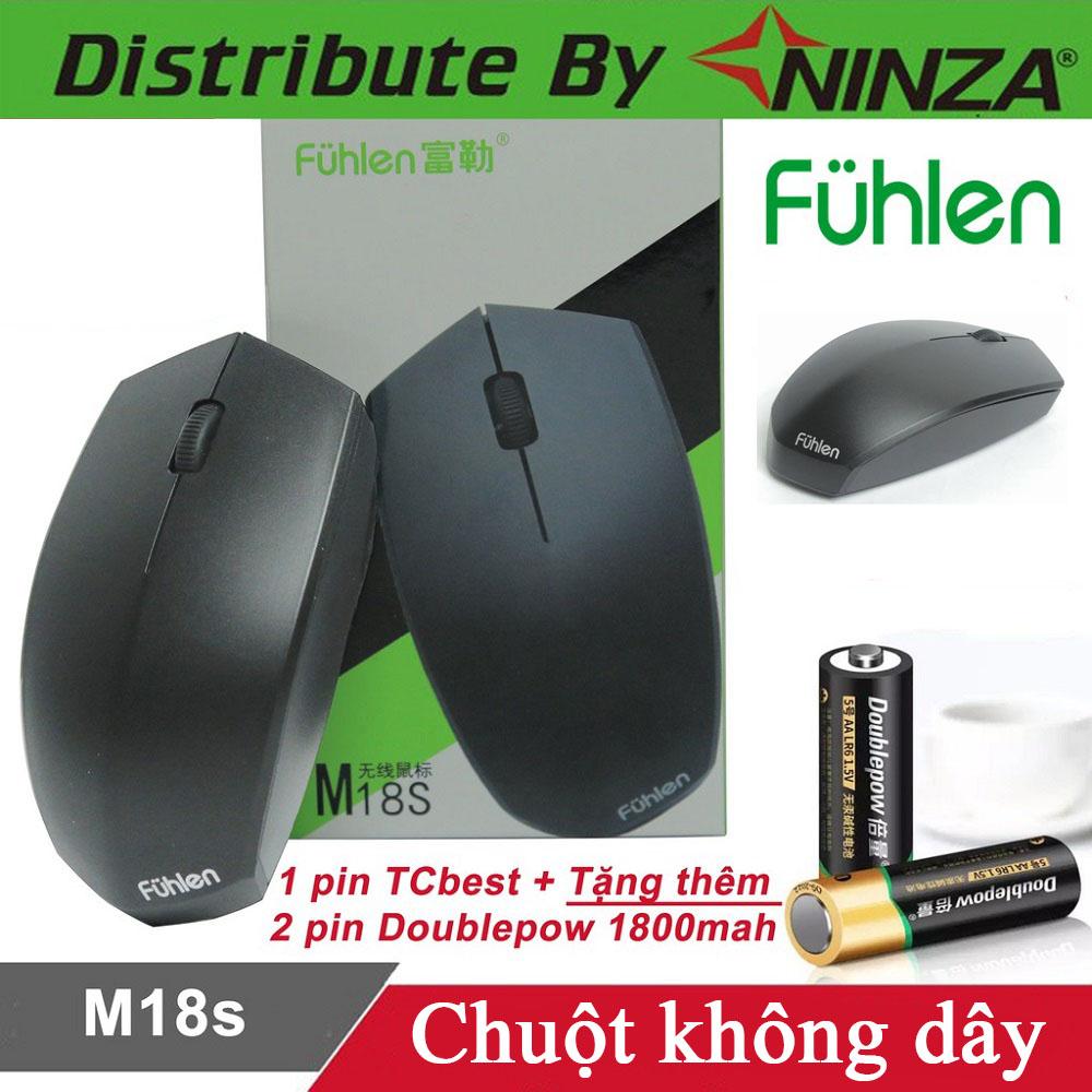 Chuột không dây Fuhlen M18s tặng kèm 2 viên pin Alkaline - Hàng chính hãng
