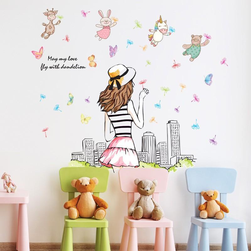 Decal dán tường cô gái với cảnh quan thành phố ABC1060