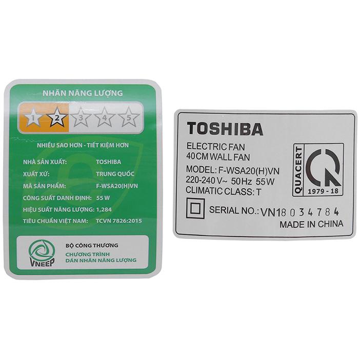 Quạt Treo Tường Toshiba F-WSA20(H)VN - Xám - Hàng chính hãng