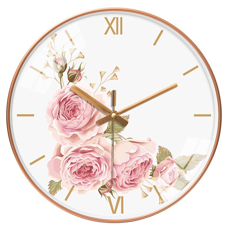 Đồng hồ treo tường tròn phong cách Bắc Âu hoa hồng cổ 049 25cm