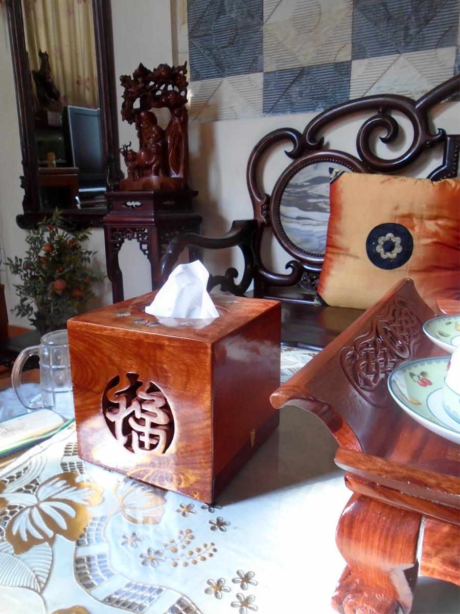 Bộ 3 sản phẩm Hộp giấy vuông ,hộp trà cỡ lớn ,hộp tăm bằng gỗ hương đỏ CGVL03