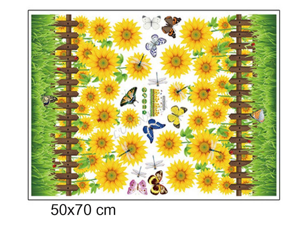 decal dán tường chân rào hoa hướng dương bông to sk7060