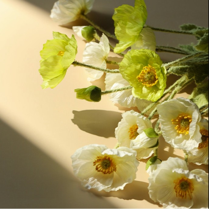 Hoa giả - Combo 10 bông Hoa Anh Túc Vải lụa