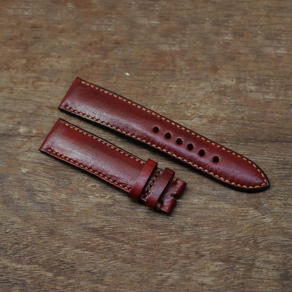 Dây da đồng hồ màu đỏ đô - Đồ da handmade - DT824