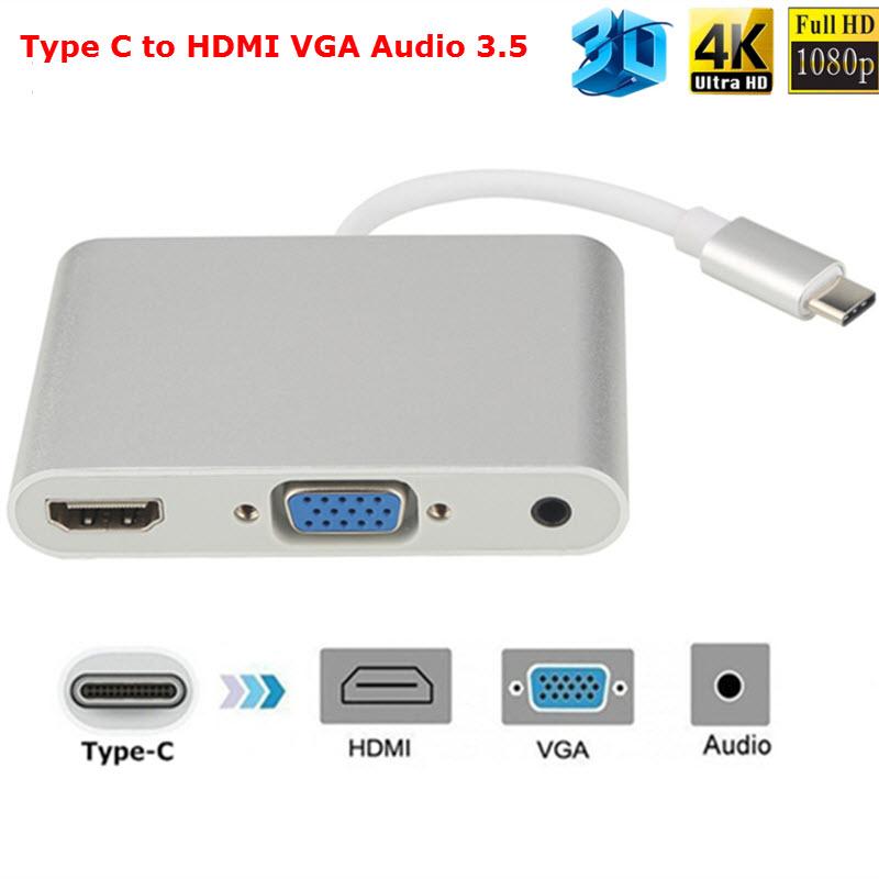 Cáp Chuyển Đổi USB TYPE-C Sang HDMI Và VGA có âm thanh - HVA-LS31 (Hàng chính hãng)