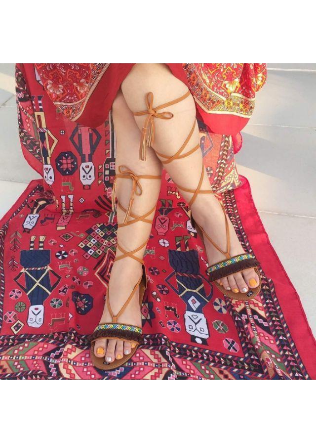 Giày Sandal Nữ Chiến Binh Dây Cột Thổ Cẩm Thời Trang Phong Cách Hàn Quốc