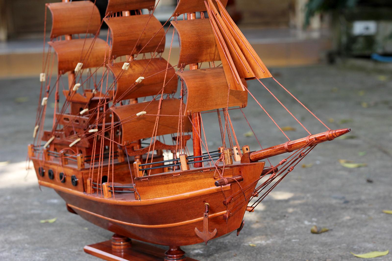 Mô hình thuyền buồm gỗ trang trí Thuyền Thái thân tàu 60cm, trang trí nhà cửa - phòng khách - bàn làm việc, quà tặng tân gia - sinh nhật - khai trương