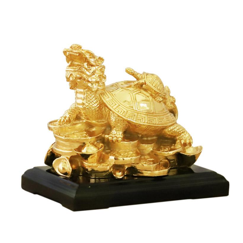 Tượng Long Quy (Rùa đầu Rồng) mạ vàng 24K - Quà tặng cho Sếp