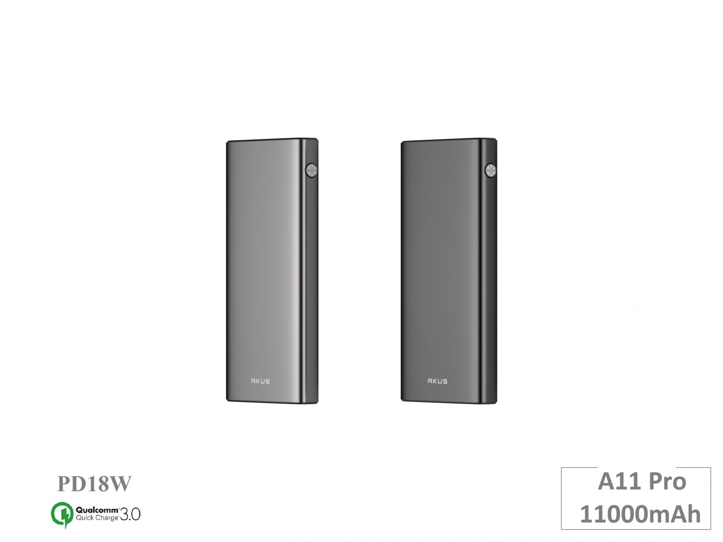 Sạc nhanh, pin sạc dự phòng AKUS A11pro 11.000mAh, Quickcharge 3.0, sạc typeC 18W - hàng chính hãng