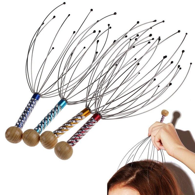 Cây massage đầu bạch tuộc KINGTECH - Dụng cụ mát xa đầu thư giãn, giảm căng thẳng - Giao màu ngẫu nhiên