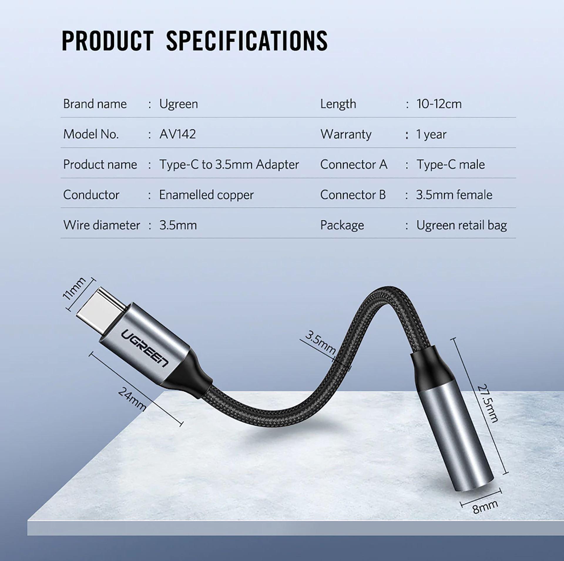 Cáp Chuyển USB Type-C ra Audio 3.5mm Cao Cấp UGREEN 30632 - Hàng chính hãng