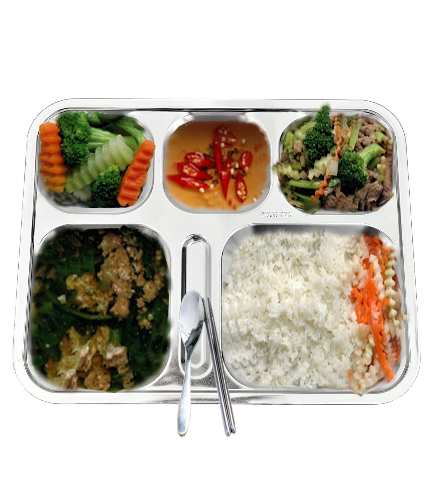 Combo 10 Khay cơm phần 5 ngăn INOX 304