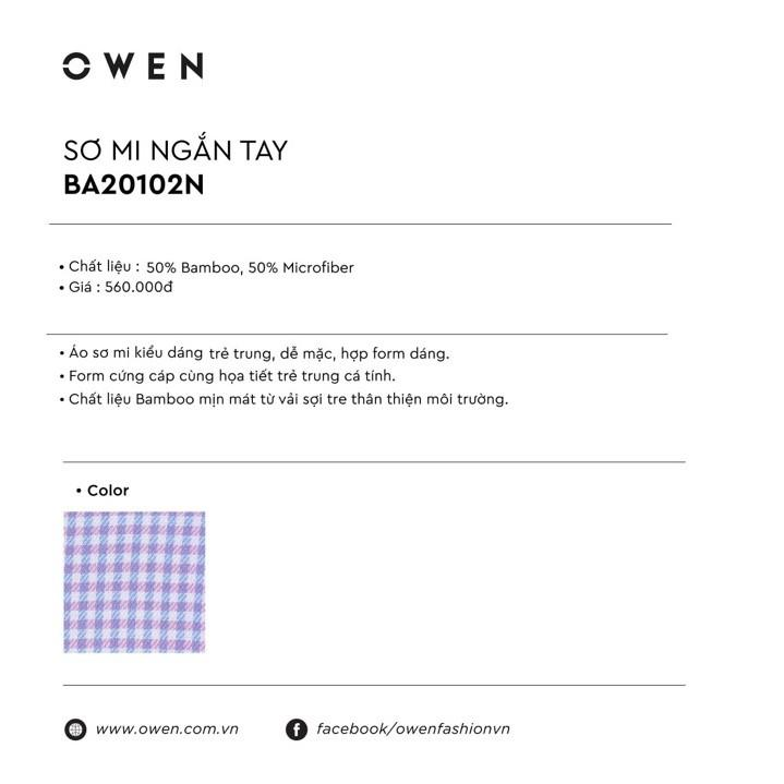Áo sơ mi cộc tay Owen vải sợi tre BA 20102 - áo sơ mi nam ngắn tay