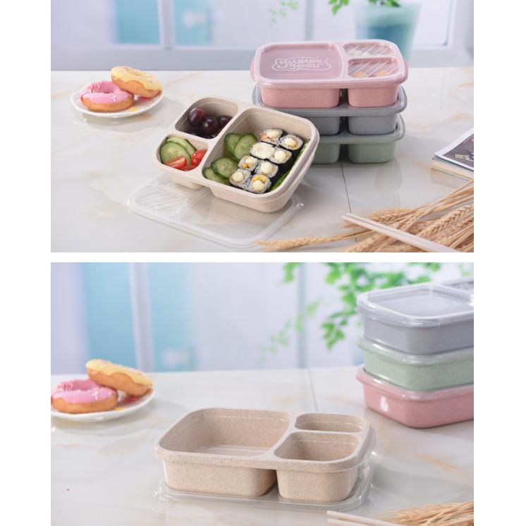 Hộp đựng cơm văn phòng 3 ngăn lúa mạch có nắp trong suốt, hộp bảo quản thực phẩm đa năng mang theo đi du lịch, dã ngoại, đi phượt mã HC20 - giao màu ngẫu nhiên