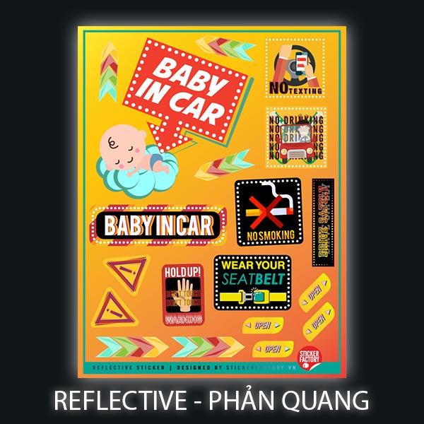 Baby in Car - Reflective Sticker hình dán phản quang 3M Premium