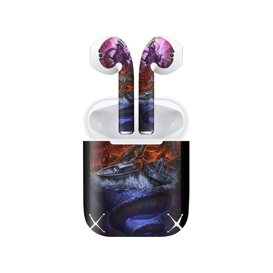 Miếng dán skin chống bẩn cho tai nghe AirPods in hình Godzilla - Godz005 (bản không dây 1 và 2)