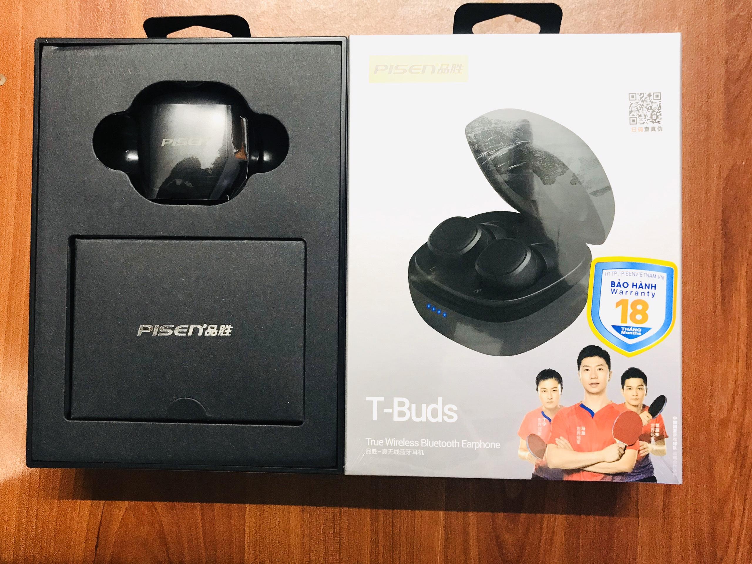 Tai nghe Pisen True Wireless Bluetooth T-Buds Black _ Hàng chính hãng