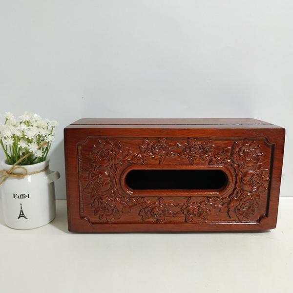 Hộp đựng giấy ăn gỗ hương chạm khắc hoa hồng tinh xảo