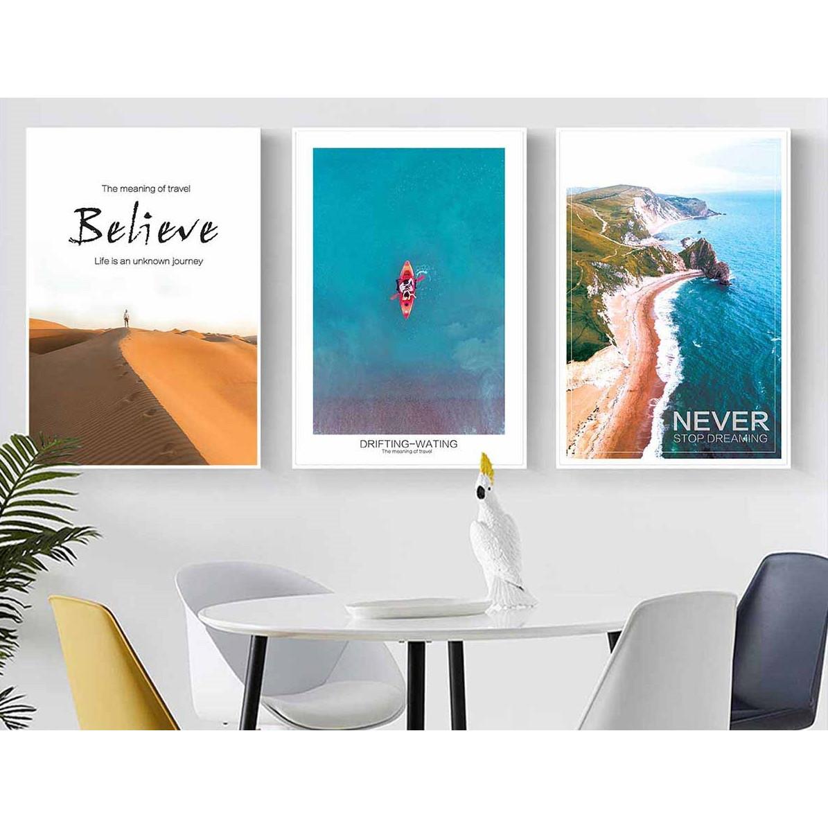 Set 3 tranh canvas phong cảnh biển 30x40cm DC0056
