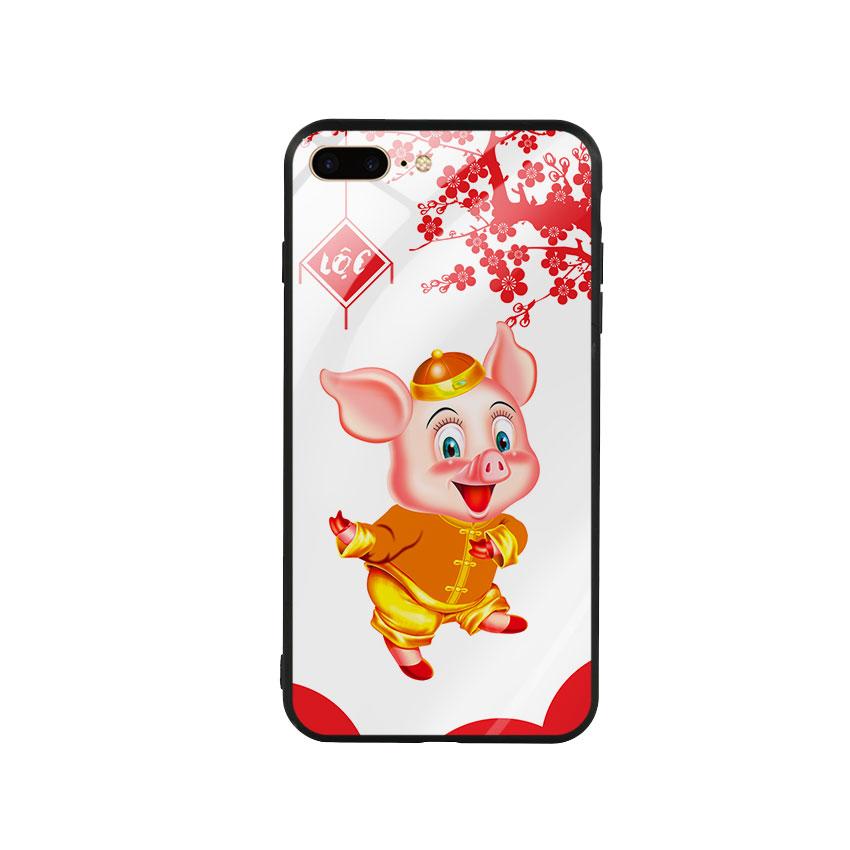 Ốp Lưng Kính Cường Lực cho điện thoại Iphone 7 Plus  8 Plus - Pig 2019