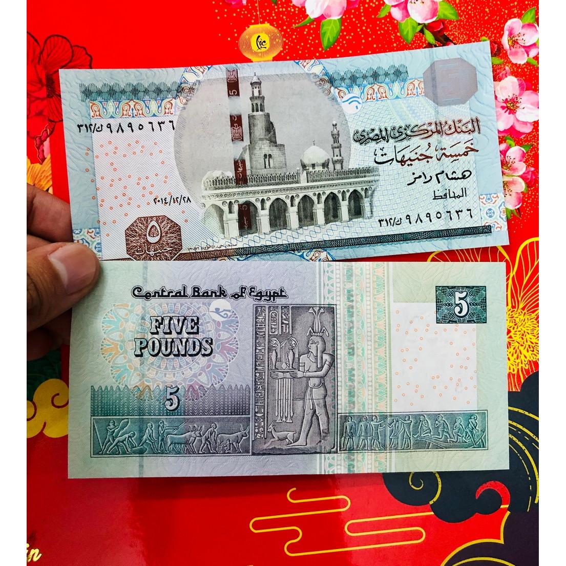 Tiền Ai Cập 5 Pound hình ảnh biểu tượng đất nước, mới 100% UNC - kèm bao lì xì