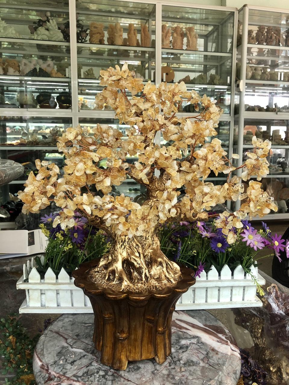 Cây Tài Lộc phong thủy đá thạch anh vàng - Cao 45 cm