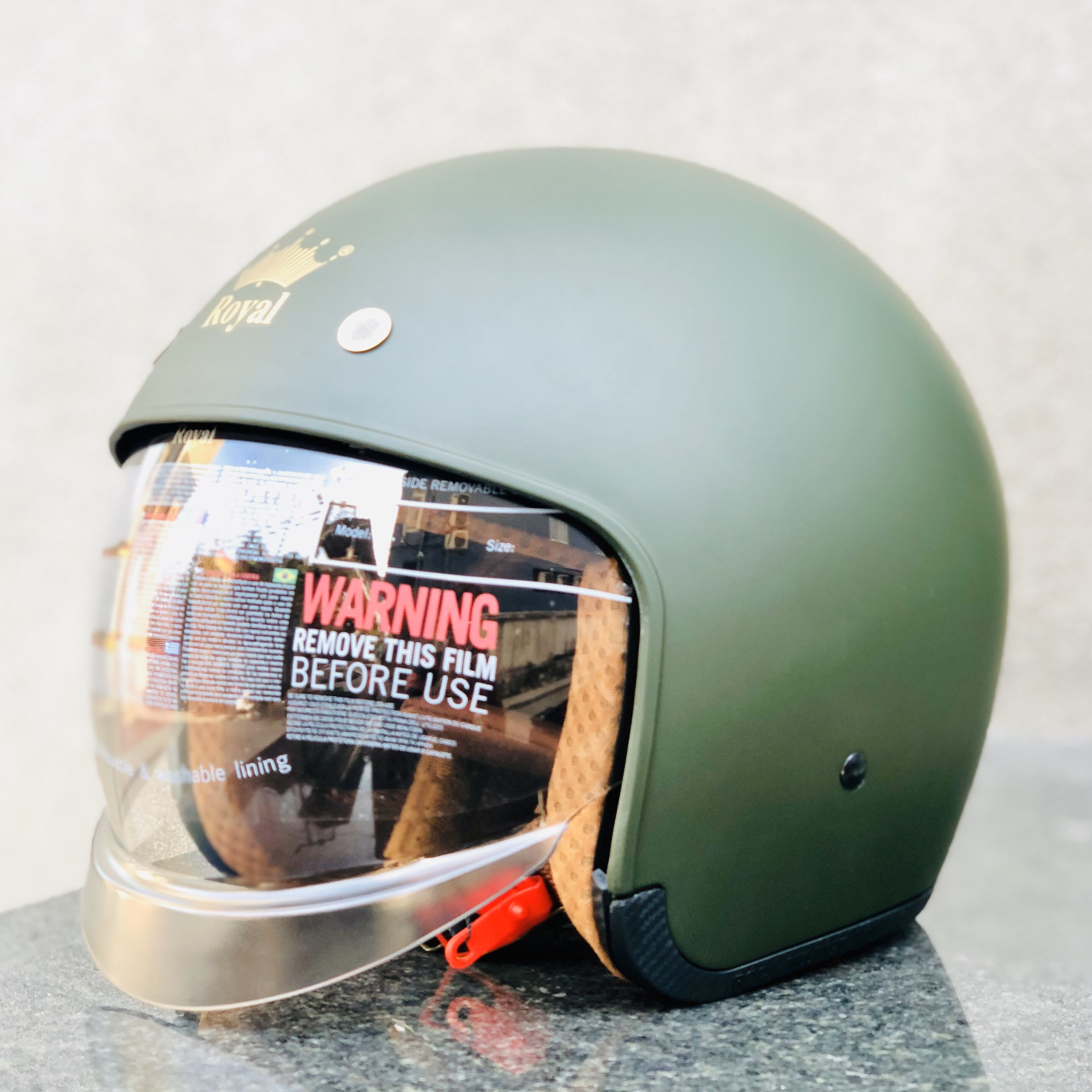 Nón bảo hiểm Royal kính âm M139 xanh lính