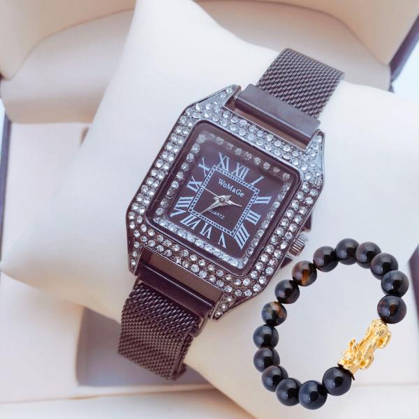 Đồng hồ nữ dây kim loại nam châm mặt vuông đính đá sang trọng(Màu Đen) + tặng kèm vòng tay tỳ hưu thời trang may mắn