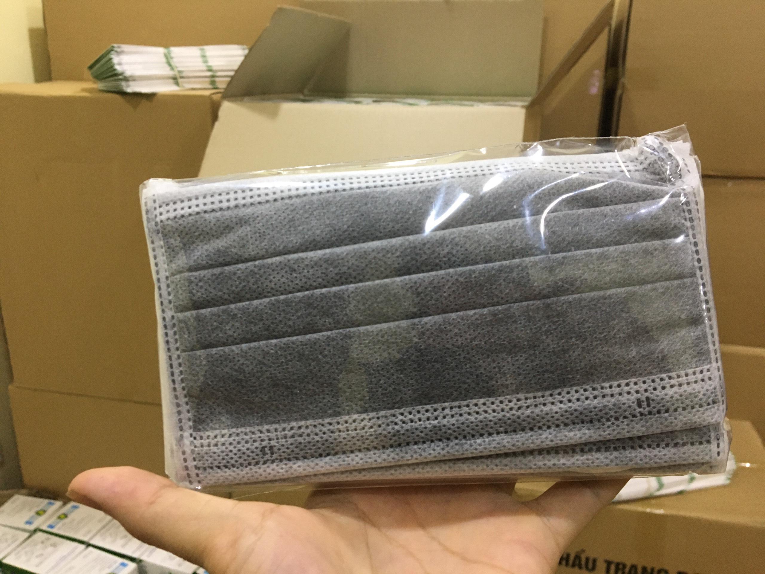Khẩu trang y tế 4 lớp (chống bụi bẩn, giọt bắn) hộp 50 chiếc màu xám