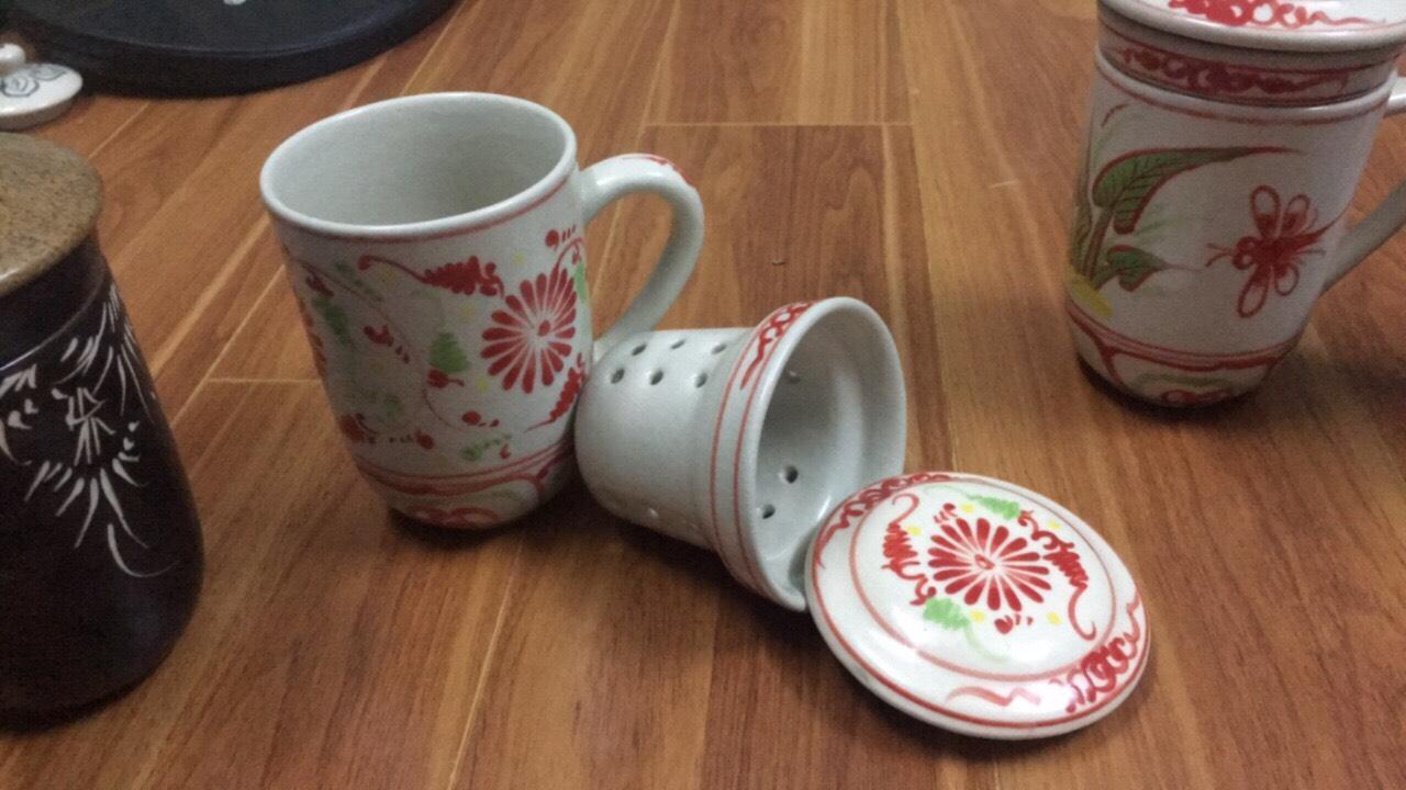 Bộ cốc lọc trà 3 sản phẩm gốm Bát Tràng( Hoa văn ngẫu nhiên)