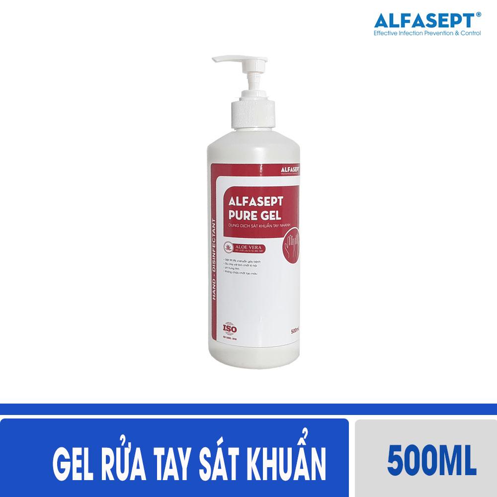 Dung dịch rửa tay khô diệt khuẩn ALFASEPT PURE GEL 500ml - Tinh chất lô hội, diệt khuẩn chuyên sâu - Dạng Gel