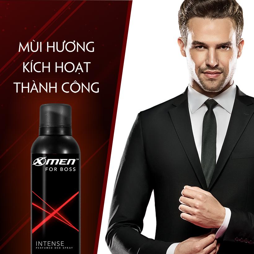 Xịt khử mùi X-Men For Boss Intense - Mùi hương trầm đầy nội lực 150ml