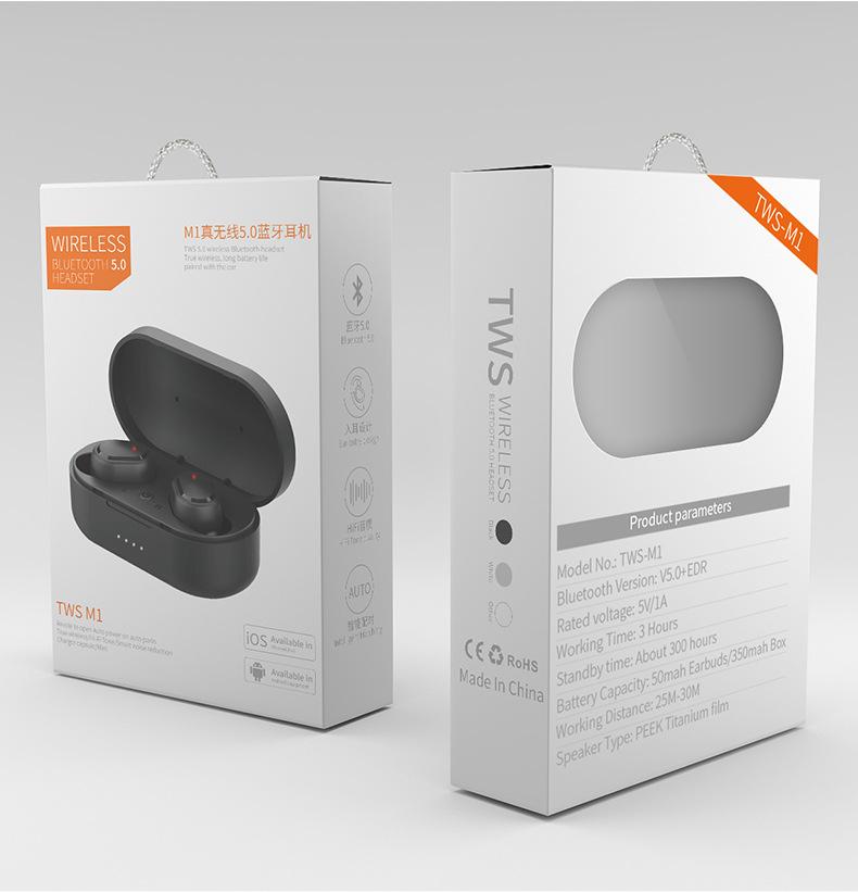 Tai Nghe Bluetooth V5.0 TWS-M1 Không Dây Mini Thể Thao Nhét Tai  350mAh Dalugi - Hàng chính hãng