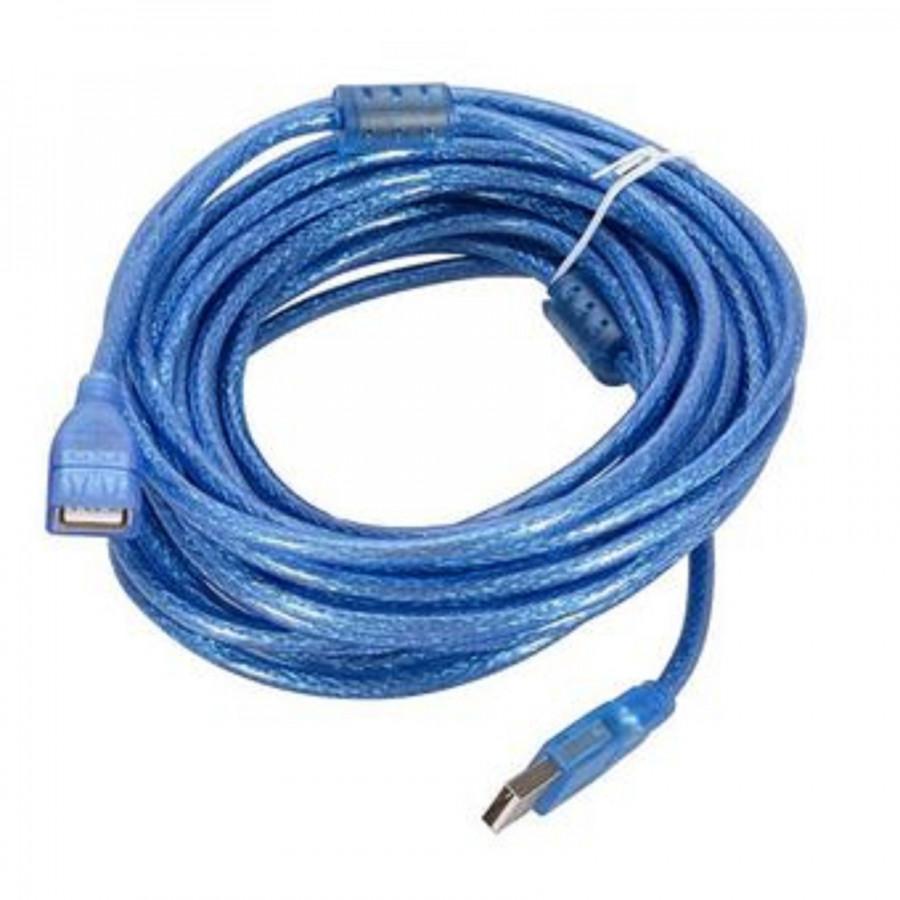 Dây cáp USB 5M Có Cục Chống Nhiễu Màu Xanh (một đầu dương, một đầu âm)