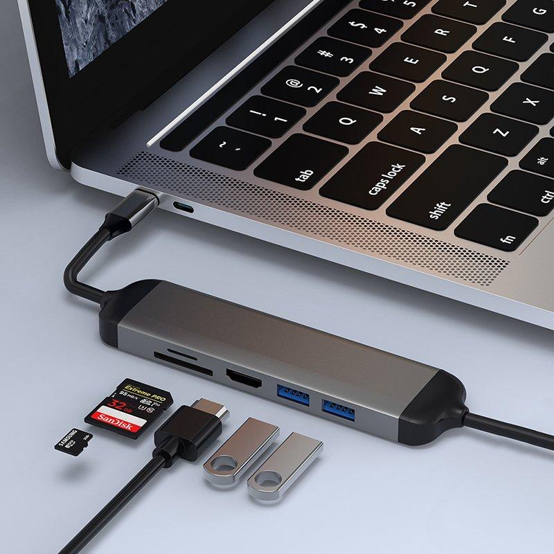 Hub chuyển đa năng WIWU Alpha USB-C A521H 5 in 1 (USB 3.0 + HDMI + SD +TF + PD) - Hàng nhập khẩu