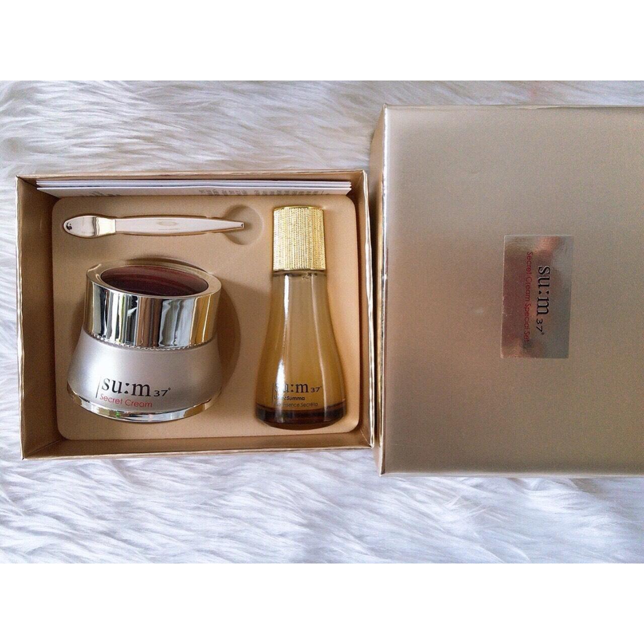 Bộ kem dưỡng và nước thần thanh lọc ngăn ngừa lão hóa Su:m37 Secret Cream Set 40ml
