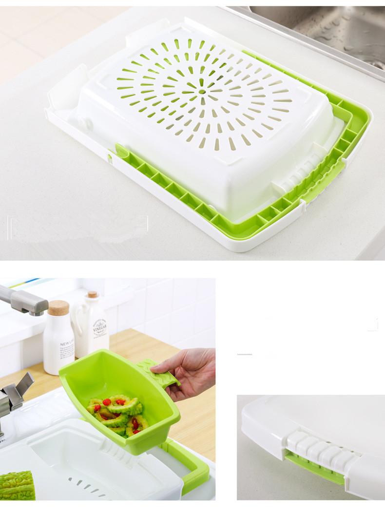 Thớt nhựa Rổ nhựa đa năng thông minh gác bồn rửa chén tiện lợi
