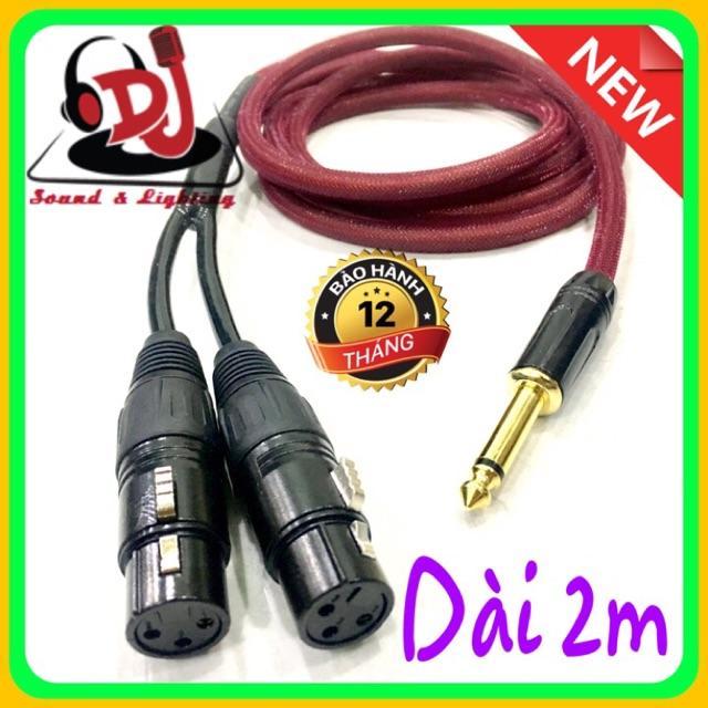 dây Jack 6 ly  ra 2 đầu Jack canon cái dài 2m, dây tín hiệu âm thanh, rắc chuyển 6ly sang canon