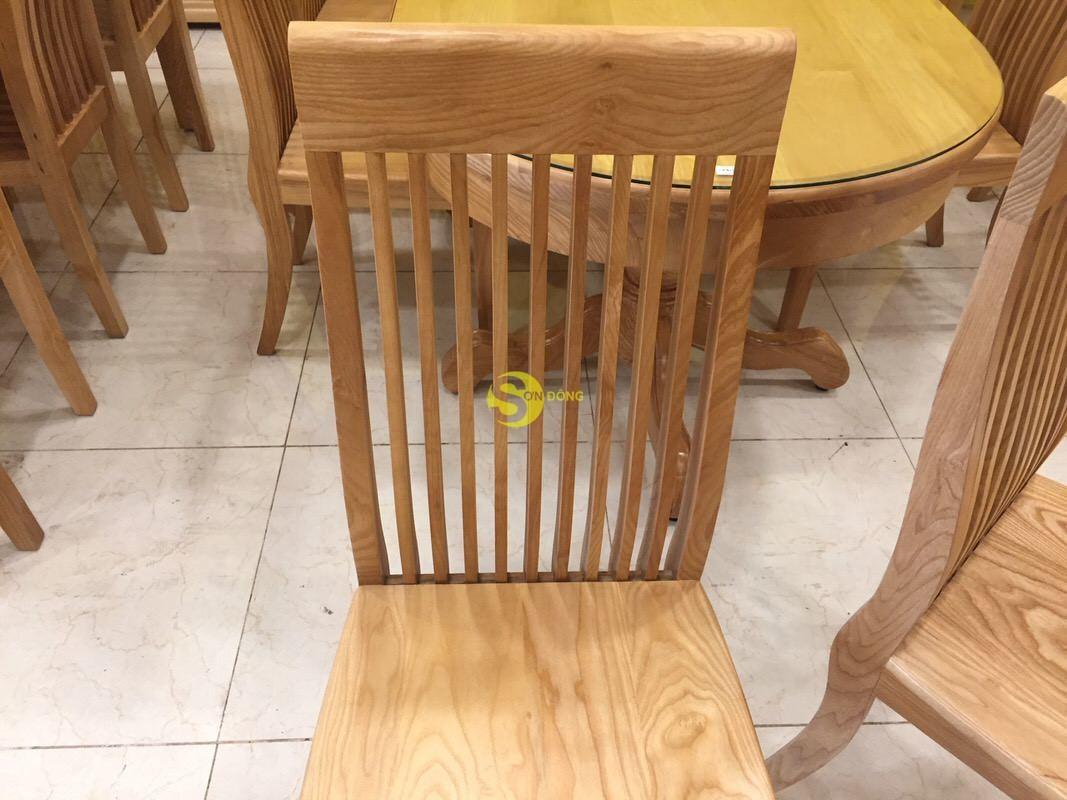 Bộ bàn ăn bàn oval 6 ghế gỗ sồi