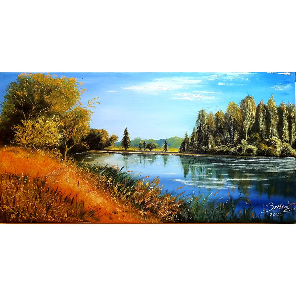 Tranh sơn dầu vẽ tay: Sông nước