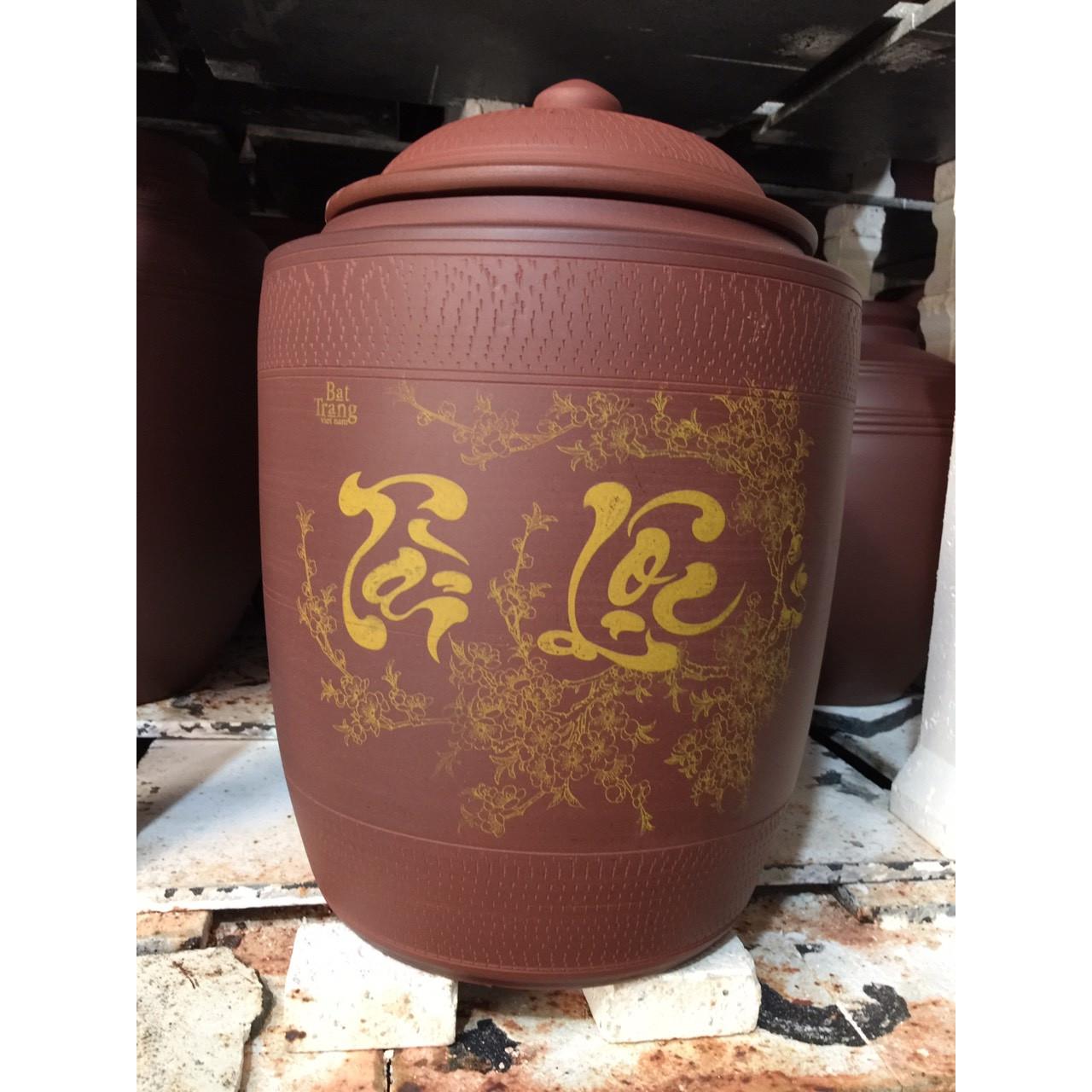 Hũ đựng 15kg gạo gốm Gia Hưng Bát Tràng